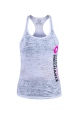 Body Mechanix Stack Burnout Ladies White Tank- Medium